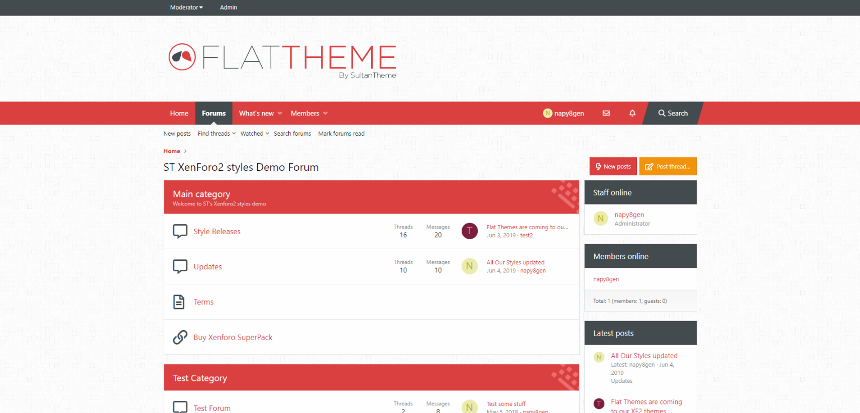 ft cinnabarRed - Flat Themes for xenforo2 released