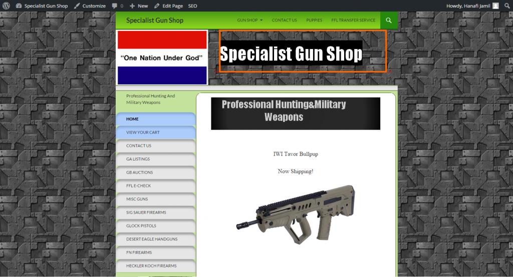 specialistgunshop 1024x554 - FrontPage to Wordpress conversion service